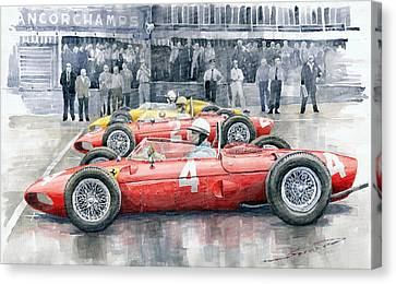 Ferrari 156 Sharknose 1961 Belgian Gp Canvas Print by Yuriy Shevchuk