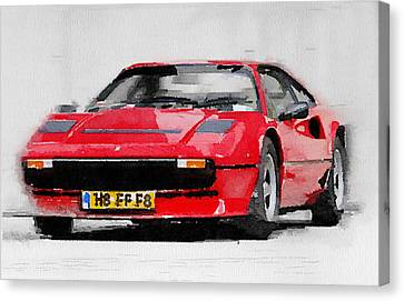 Ferrari 208 Gtb Turbo Watercolor Canvas Print by Naxart Studio