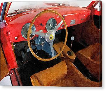 Ferrari 225 S Berlinetta Interior Watercolor Canvas Print by Naxart Studio