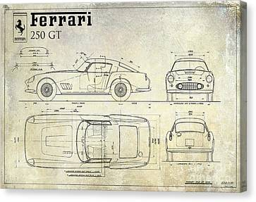 Old Canvas Print - Ferrari 250 Gt Blueprint Antique by Jon Neidert