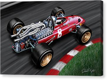 60s Canvas Print - Ferrari 312 F-1 Car by David Kyte