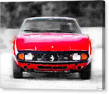 Ferrari 365 Gtc4 Front Watercolor Canvas Print by Naxart Studio