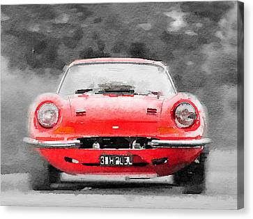 Ferrari Dino 246 Gt Front Watercolor Canvas Print by Naxart Studio
