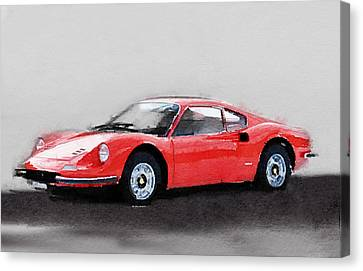 Ferrari Dino 246 Gt Watercolor Canvas Print by Naxart Studio