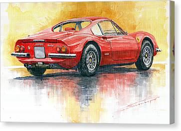 Red Ferrari Canvas Print - 1969-1974 Ferrari Dino 246 by Yuriy Shevchuk