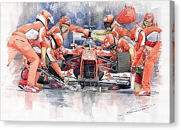 Pitted Canvas Print - 2012 Ferrari F 2012 Fernando Alonso Pit Stop by Yuriy  Shevchuk