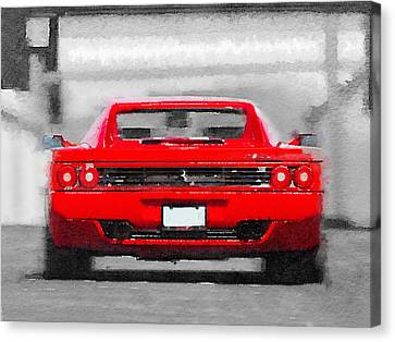 Ferrari F512 Rear Watercolor Canvas Print by Naxart Studio