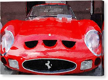Ferrari Front End Monterey Watercolor Canvas Print by Naxart Studio