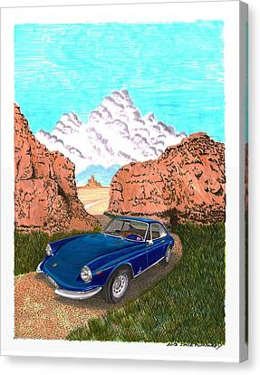 Caracalla Canvas Print - 1969 Ferrari 365 G T C In The Mountains 1969 365 G T C by Jack Pumphrey