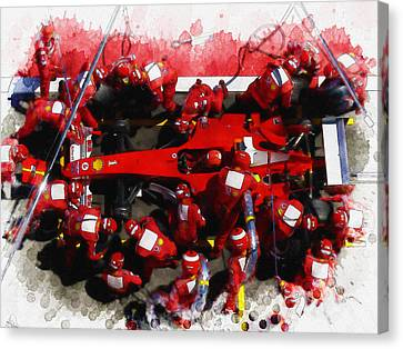 Ferrari Make Changes In Pit Lane Canvas Print