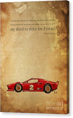 Ferrari Number 2 - Quote Canvas Print by Pablo Franchi