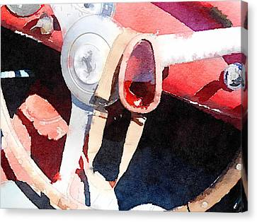 Ferrari Steering Wheel Watercolor Canvas Print by Naxart Studio