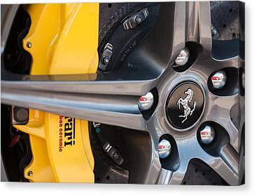 Ferrari Wheel - Brake Emblem Canvas Print by Jill Reger