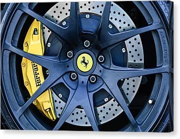 Ferrari Wheel Emblem - Brake Emblem -0430c Canvas Print by Jill Reger