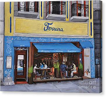 Montreal Restaurants Canvas Print - Ferreira Cafe  by Reb Frost