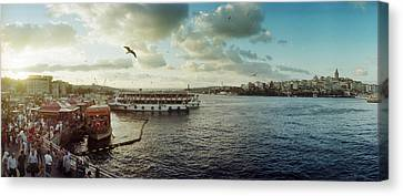 Ferries Along The Bosphorus, Istanbul Canvas Print by Panoramic Images