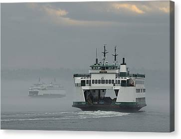 Canvas Print featuring the photograph Ferries Pass In The Fog by E Faithe Lester