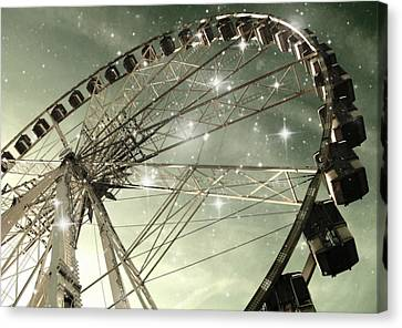 Ferris Wheel At Night In Paris Canvas Print by Marianna Mills