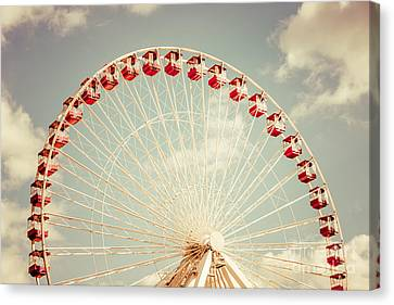Ferris Wheel Chicago Navy Pier Vintage Photo Canvas Print by Paul Velgos