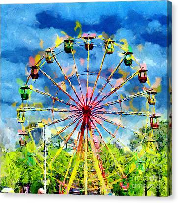 Ferris Wheel Painting Canvas Print by Magomed Magomedagaev