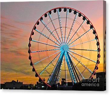 Ferris Wheel Sunset Canvas Print by Eve Spring