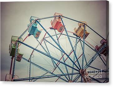 Amusements Canvas Print - Ferris Wheel Vintage Photo In Newport Beach California by Paul Velgos