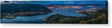 Canvas Print featuring the photograph Ferrol's Estuary Panorama From La Bailadora Galicia Spain by Pablo Avanzini