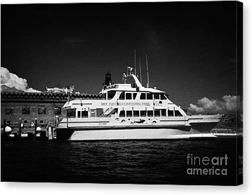Ferry And Dock At Fort Jefferson Dry Tortugas National Park Florida Keys Usa Canvas Print by Joe Fox