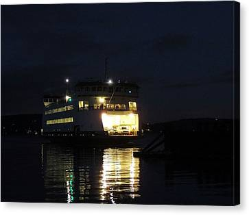 Ferry At Night Canvas Print