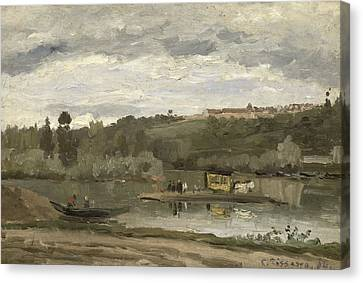 Ferry At Varenne-saint-hilaire, 1864 Oil On Canvas Canvas Print by Camille Pissarro