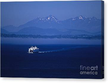 Ferry Boat In Puget Sound With Olympic Mountains Canvas Print