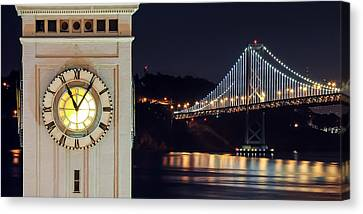 Ferry Building And Bay Bridge Canvas Print