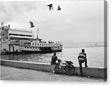 Ferryboat In Karsiyaka Port In Izmir Canvas Print by Ilker Goksen