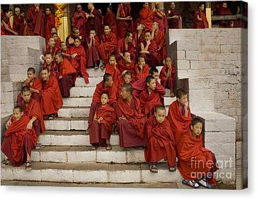 Canvas Print featuring the digital art Festival In Bhutan by Angelika Drake