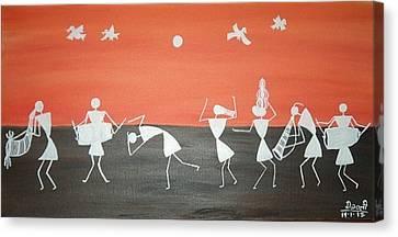 Festival In Warali Village Canvas Print by Dipali Deshpande