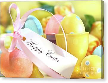 Festive Easter Eggs Canvas Print by Sandra Cunningham