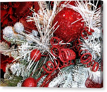 Festive Red And White Canvas Print by Janine Riley