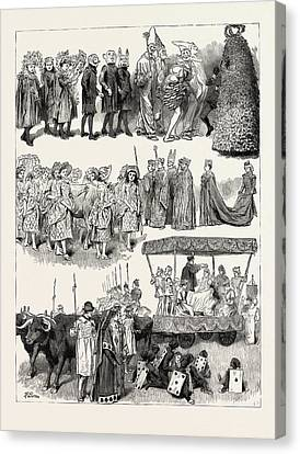 Festivities At St. Mary Cray, Kent, Engraving 1890 Canvas Print by English School