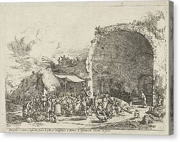 Festivities At The Ruins Of The Cave Of The Nymph Egeria Canvas Print by Artokoloro