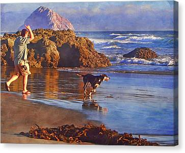 Fetch - Dog And Master - Morro  Canvas Print