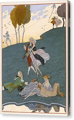 Fetes Galantes Canvas Print by Georges Barbier