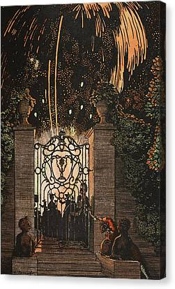 Fourth Of July Canvas Print - Feu D Artifice by Konstantin Andreevic Somov