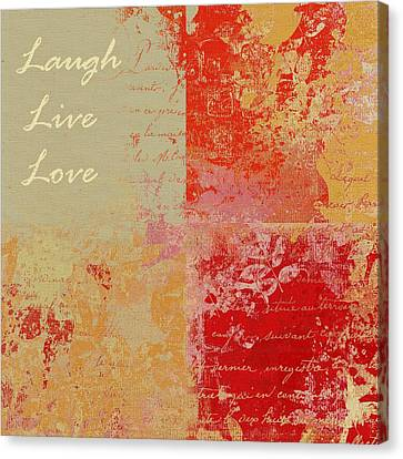 Feuilleton De Nature - Laugh Live Love - 01at01 Canvas Print by Variance Collections