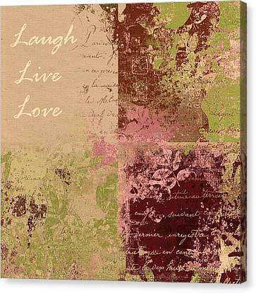 Feuilleton De Nature - Laugh Live Love - 01c4at Canvas Print by Variance Collections