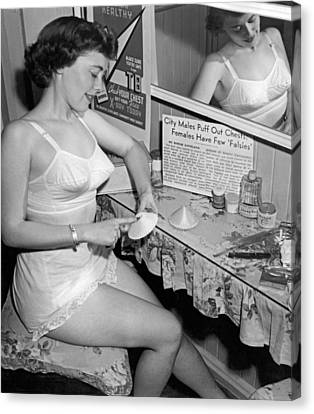 Dressing Room Canvas Print - Fewer Falsies For Cleveland by Underwood Archives