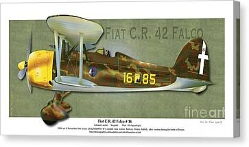Canvas Print featuring the drawing Fiat C.r. 42 by Kenneth De Tore