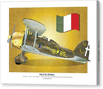 Canvas Print featuring the drawing Fiat Falco C.r.42 by Kenneth De Tore