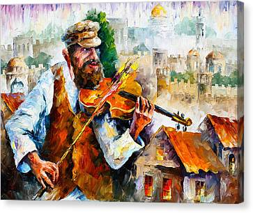 Judaic Canvas Print - Fiddler  In Jerusalem 2 New by Leonid Afremov