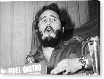 Fidel Castro Speaking Canvas Print by Underwood Archives