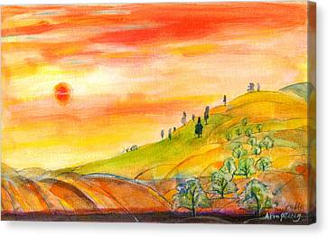 Field And Sunset Canvas Print by Mary Armstrong